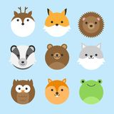 Cute vector set of forest animals. Cute vector icon set of forest animals. Round animal illustrations; deer, fox, hedgehog, badger, bear, wolf, owl, squirrel and vector illustration