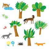 Cute vector set with forest inhabitants - horse, deer, wolf, fox stock photos