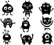 Cute vector set with fun monster silhouette in black color for c. Hildren designs Royalty Free Stock Image