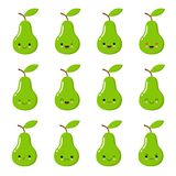 Cute vector set of green pear fruit character in different action emotion. Kawaii style vector illustration
