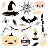 Cute vector set with Halloween illustrations vector illustration