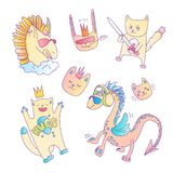 Cute vector set of magical fairytale animals - cat, cragon, unicorn, rabbit. Pink cartoon animal collection for little