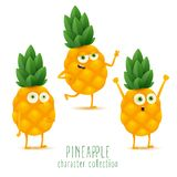Cute vector set of pineapple fruit character in different action emotion isolated on white background stock illustration