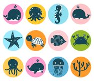 Cute vector set with sea animal icons in color circles. For kids designs royalty free illustration