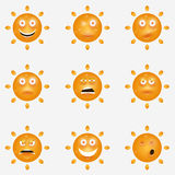 Cute vector set of SUN icons. Funny happy smiley Royalty Free Stock Photography