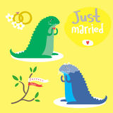 Cute vector set with two two dinosaurs Stock Photo