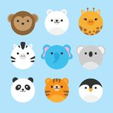 Cute vector set of zoo animals. Cute vector icon set of zoo animals. Round animal illustrations; monkey, polar bear, giraffe, zebra, elephant, koala bear, panda royalty free illustration