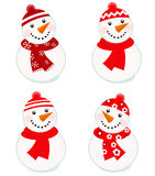 Cute vector snowmen collection Royalty Free Stock Images