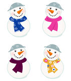 Cute vector snowmen collection. Colorful vector snowman icons - vector illustration Royalty Free Stock Photo