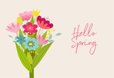 Cute vector spring card with flowers. Poster in cartoon style. Cute vector spring card with flowers. Poster in cartoon style Royalty Free Stock Images