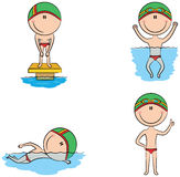 Cute vector swimmer boys in different sport situations Royalty Free Stock Image