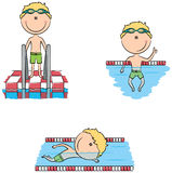 Cute vector swimmer boys in different sport situations Stock Photography