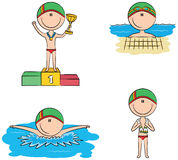 Cute vector swimmer boys in different sport situations Stock Photo