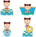Cute vector swimmer girls in different sport situations Stock Photo