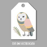 Cute vector tag with owl. Stock Images
