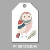 Cute vector tag with owl. Stock Photos