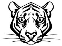 Cute Vector Tiger. In black and white. Symmetrical and simple. Clean Royalty Free Stock Image