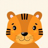 Cute vector tiger head, front view. In the background of polka dots. vector illustration