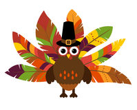 Cute Vector Turkey with Colorful Feathers for Thanksgiving. And Fall Royalty Free Stock Photos