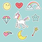 Cute unicorn elements - kawaii style royalty free stock images