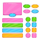 Cute vector user interface assets. Set for web or game design. Pink information panel, round, square, oval colorful buttons,long horizontal banners kit vector illustration