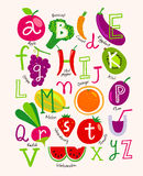 Cute vector vegetarian alphabet with fruits and vegetables Royalty Free Stock Photos