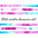 Cute vector watercolor banners. Cute vector pink and blue watercolor banners set Royalty Free Stock Image