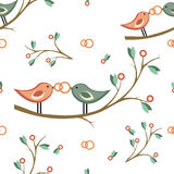 Cute vector wedding seamless pattern. seamless pattern with pair of birds on a branch, wedding rings. For wedding Royalty Free Stock Images