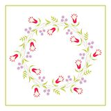Cute Vector Wreath - Illustration. Design of Wreath with Flowers for greeting card, digital card, clip-art royalty free illustration