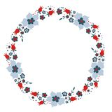 Cute Vector Wreath - Illustration. Design of Wreath with Flowers for greeting card, digital card, clip-art Stock Photography