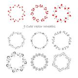 9 Cute Vector Wreaths - Illustration. Designs of Wreath with Flowers for greeting card, digital card, clip-art Royalty Free Stock Images