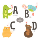 Cute vector zoo alphabet. With cartoon animals isolated on white background. A, b, c, d letters. Alligator, bird, cat and dog Stock Photo