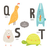 Cute vector zoo alphabet. With cartoon animals isolated on white background. Q, r, s, t letters. Quail, rabbit, sheep and turtle Stock Images