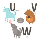 Cute vector zoo alphabet. With cartoon animals isolated on white background. U, v, w letters. Unicorn, vole and wolf Royalty Free Illustration
