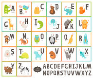 Cute vector zoo alphabet with cartoon animals Royalty Free Stock Photos