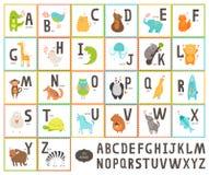 Cute vector zoo alphabet with cartoon animals. On white background, education cards. Cat, dog, turtle, elephant, panda, alligator,lion, zebra Royalty Free Stock Photos