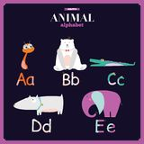 Cute vector zoo alphabet with cartoon and funny Royalty Free Stock Images