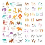 Cute vector zoo alphabet with cartoon and funny Royalty Free Stock Image