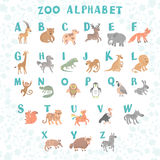 Cute vector zoo alphabet. Funny cartoon animals. Letters. Learn to read. Vector Illustration Stock Photo