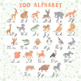 Cute vector zoo alphabet. Funny cartoon animals. Letters. Learn to read and to write. Vector Illustration royalty free illustration