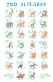 Cute vector zoo alphabet. Funny cartoon animals. Letters. Learn to read and write. Royalty Free Stock Photos