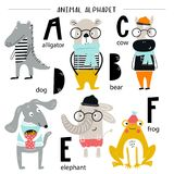 Cute vector zoo alphabet poster with cartoon animals. Set of kids abc elements in scandinavian style.  vector illustration