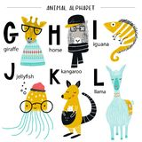Cute vector zoo alphabet poster with cartoon animals. Set of kids abc elements in scandinavian style.  Royalty Free Illustration