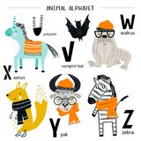 Cute vector zoo alphabet poster with cartoon animals. Set of kids abc elements in scandinavian style.  stock illustration