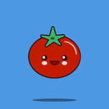 Cute vegetable cartoon character tomato icon kawaii Smiling face.  Royalty Free Stock Photography