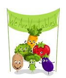 Funny vegetable isolated cartoon characters. Cute vegetable cartoon characters isolated on white background  illustration. Funny carrot, potato, cabbage, tomato Royalty Free Stock Image