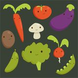 Cute vegetable characters. Illustration Royalty Free Stock Photography