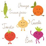 Cute vegetable characters set Stock Photo