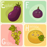 Cute Vegetable and Fruit Alphabet. Cartoon Characters. Cartoon Eggplant, Fig, Grape and Honeydew Stock Photography