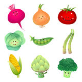 Cute vegetables characters-set 2 stock illustration